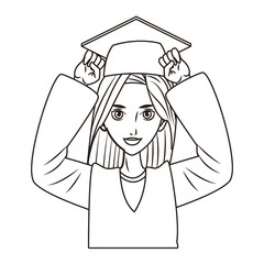 graduate young woman cartoon in black and white