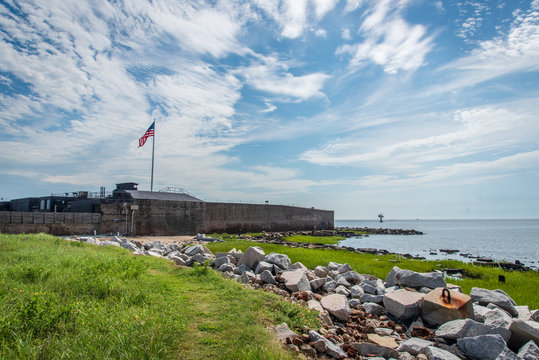 Fort Sumter on a cloudy day