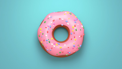 Delicious pink glazed doughnuts with sprinkles on turquoise background. View from above. 3d rendering picture.