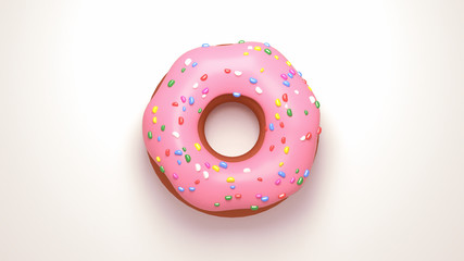 Delicious pink glazed doughnuts with sprinkles. View from above. 3d rendering picture.