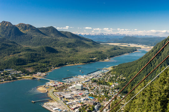 City of Juneau and cruise ship port from Mount Roberts tram. Juneau, Alaska, USA