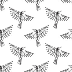 Crow bird in continuous line style seamless pattern.