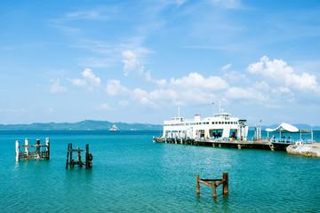 Koh Chang Ferry Pier, Thailand. Sea harbor.