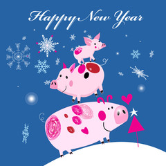 New Year's merry greeting card with three smile piglets