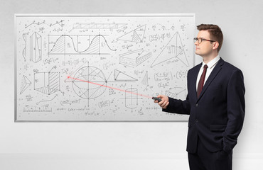 Professor with laser pointer teaching geometry