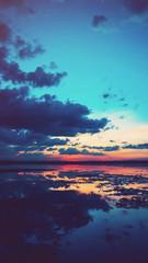 Fototapete - landscape river twilight sunset evening