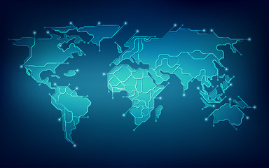 abstract futuristic world map in electronic theme, concept of global network