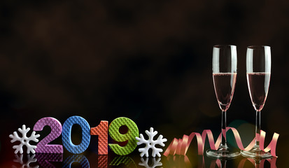 Two glasses with champagne on black background. New Year 2019 Celebration.