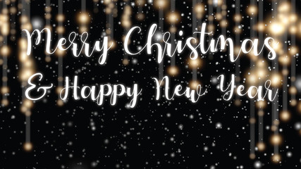 Merry Christmas and Happy New Year greetings card. Vibrant light strings and text on black background