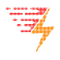 Electric power halftone dotted icon with fast speed effect. Vector illustration of electric power designed for modern abstraction with symbols of speed, rush, progress, energy.