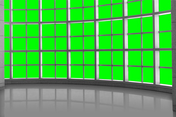 Design cover concept, modern open space structure window grid with reflective surface Wall mural