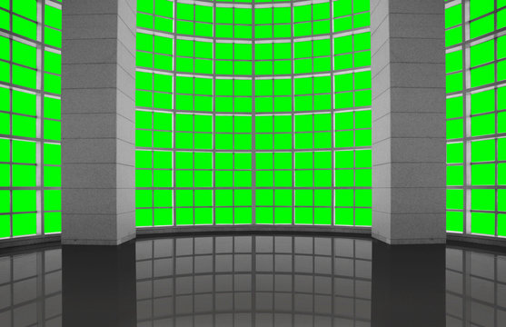 Greenscreen conceptual, modern industrial architectural windows grid, for background use