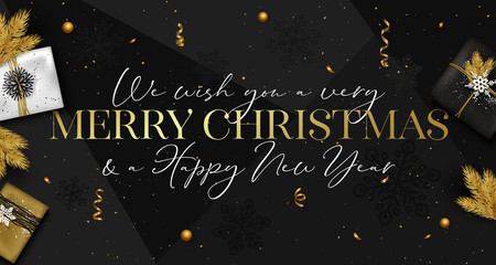 Happy New Year background with gold snowflakes, confetti and Christmas tree branch. Vector illustration