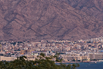 Aerial view on city of Aqaba - the only marine port at the Red Sea in Jordan, Middle East