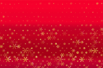 Winter pattern with Golden stars and snowflakes on red blurred background. Scalable vector graphic