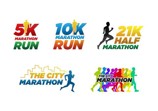 set colorful marathon run event logo template with running people illustration,  5K, 10K, 21K half marathon vector eps 10