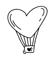 Monoline cute balloon in form of heart. Vector Valentines Day Hand Drawn icon. Holiday sketch doodle Design element valentine. love decor for web, wedding and print. Isolated illustration