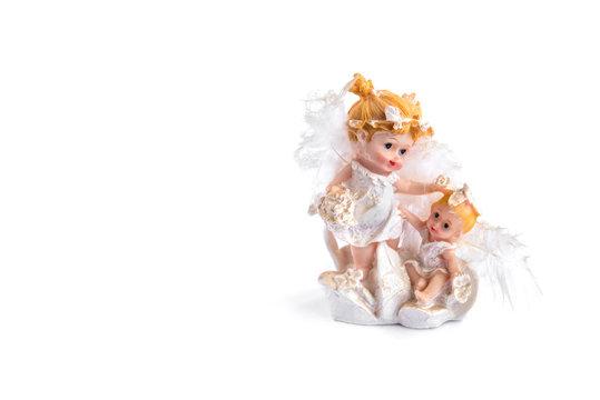 Angel figurine isolated on white background.