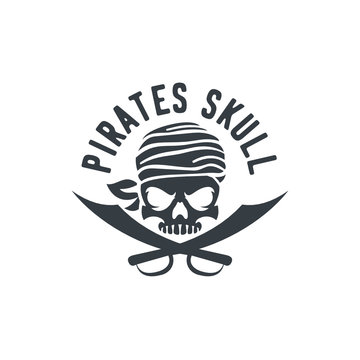 Pirate Skull And Ship Helm Logo Design Vector Illustration, emblem in monochrome vintage style isolated on white background