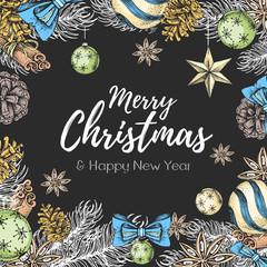 Christmas holiday hand drawign poster. Christmas greeting card