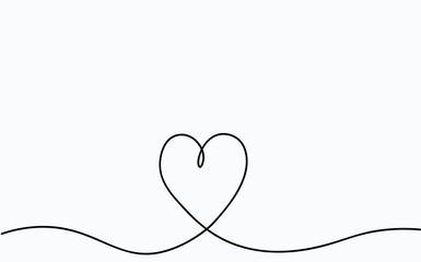 Valentines day card with love heart one line drawing. Vector illustration.