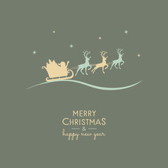 Concept of Christmas greeting card with cartoon Santa Claus and reindeers. Vector.