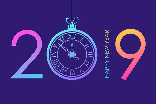 2019 Happy New Year text design with trendy bright neon gradients christmas ball and new year clock. Vector illustration.