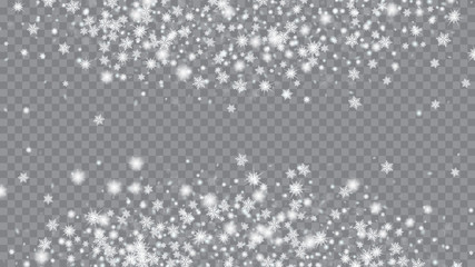 Glitter snowflakes background. Card or banner with flakes confetti scatter frame, snow elements. Vector paper illustration. Transparent base.