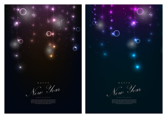 Happy new year winter fairy light background card template vector