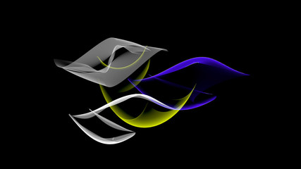 Abstract shapes in motion. Background elements of matter.