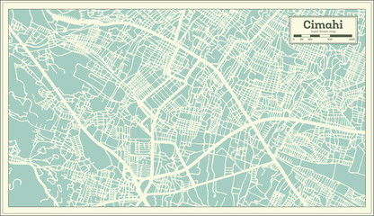 Cimahi Indonesia City Map in Retro Style. Outline Map.