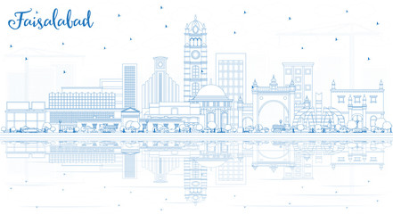Outline Faisalabad Pakistan City Skyline with Blue Buildings and Reflections.