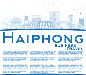 Outline Haiphong Vietnam City Skyline with Blue Buildings and Copy Space.
