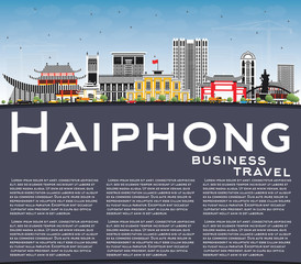 Haiphong Vietnam City Skyline with Gray Buildings, Blue Sky and Copy Space.