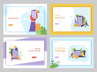 Online Banking Mobile Marketing Landing Page Template. Currency Exchange Financial Technology Concept with Characters and Money for Website or Web Page. Vector illustration