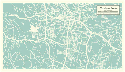 Tasikmalaya Indonesia City Map in Retro Style. Outline Map.