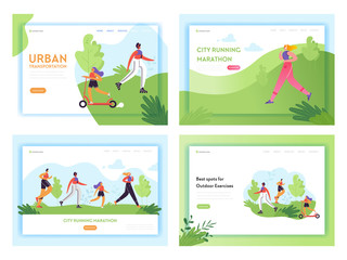 Healthy Lifestyle Running People Landing Page Template. Sports and Recreation Concept with Man and Woman Character Run in Park for Website or Web Page. Vector illustration