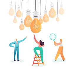 Business Characters Searching Creative Idea. Teamwork Innovations Concept. Brainstorming Process with Business People and Light Bulb. Vector illustration