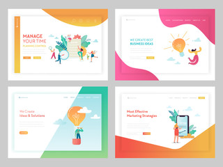 Marketing Strategy Business Solutions Landing Page Template. Time Management Concept with Characters Working on Creative Idea for Website or Web Page. Vector illustration