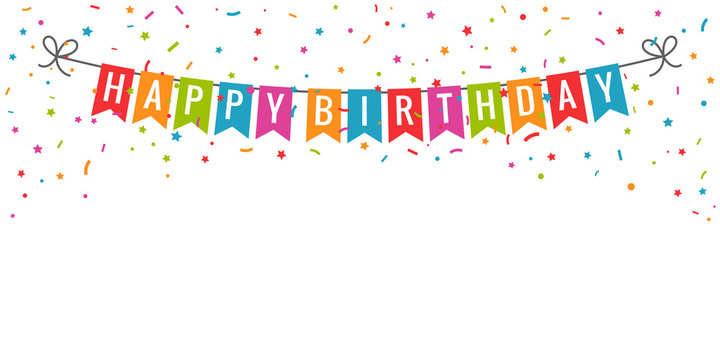 Happy birthday banner. Birthday party flags with confetti on white background