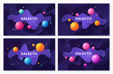 Set of cartoon galaxy futuristic outer space backgrounds, design
