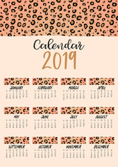Brown yellow monthly calendar 2019 with leopard skin.Can be used for web,banner,poster,label and printable