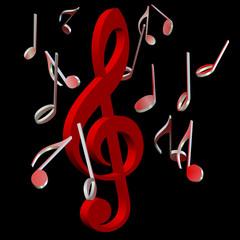 Roter Violinschlüssel und Musiknoten vor schwarzem Hintergrund