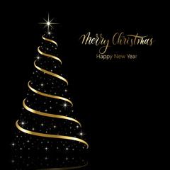 Merry Christmas and Happy New Year - golden calligraphy with New Year tree and shining stars. Postcard. Vector.