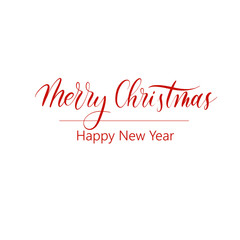Merry Christmas and Happy New Year -  calligraphy inscription  Vector.