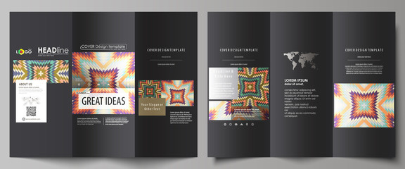 Tri-fold brochure business templates on both sides. Abstract vector layout in flat design. Tribal pattern, geometrical ornament in ethno syle, ethnic hipster backdrop, vintage fashion background.