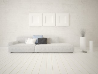 Mock up modern living room with a light sofa and a bright hipster backdrop.