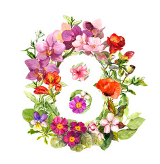Floral number - 8 eight from flowers. Watercolor greeting