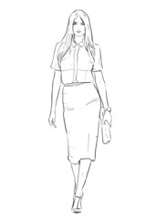 Girl with skirt runway haute couture woman. Abstract black and white line drawing.