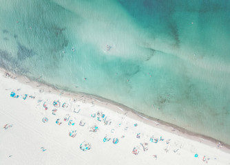 Pastel colored aerial view of a beach on the sunny day